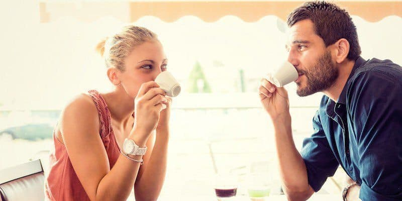 Young couple drink coffee